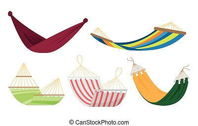 Set of various types of colorful rope hammocks. Vector set illustration in flat cartoon style.