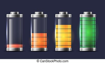 Set of various types of transparent batteries charge. Vector element for mobile phone interface, elements of the site and your design