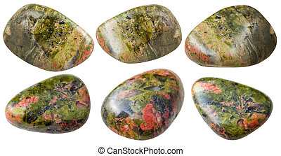 set of various unakite natural mineral gemstones