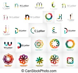 Set of various universal company logos - letters, business...