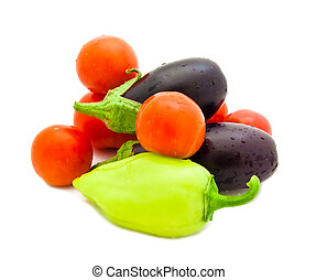 Set of various vegetables  on a white background