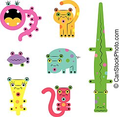 Set of various weird cute bright cartoon ?reatures animals monsters
