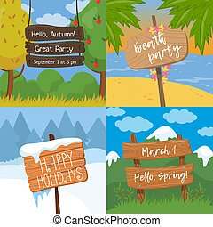 Set of various wooden signs with text, wood old planks sign on tropical, autumn, winter and spring background colorful vector Illustration, cartoon style