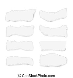 Set of varoious ripped paper pieces isolated on white background, vector