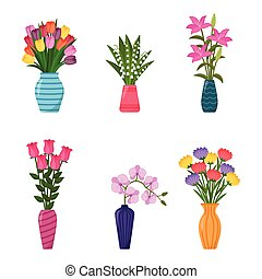 Set of vases with flowers. Collection of flower bouquets in vases, vector illustration
