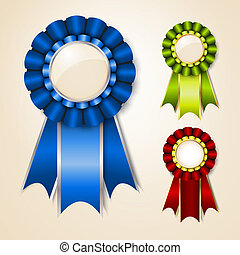Set of vecor prize ribbons with place for text