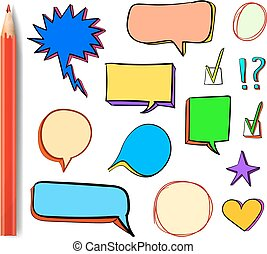 Set of VECTOR 3d icons: check mark, star, heart, speech bubbles, multicolor design elements with colored red pencil.