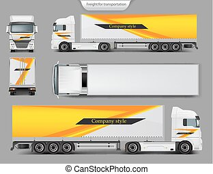 Mock up, template brand design for truck - Set of vector 3d ...