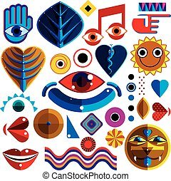 Set of vector abstract art symbols, different modern style graphic elements collection like odd creatures and monsters, heart shapes, musical notes and hand gestures.