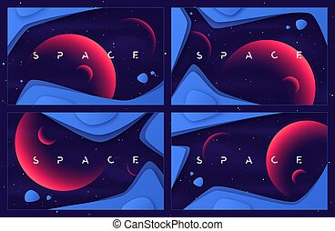 Set of vector abstract backgrounds on the theme of outer space