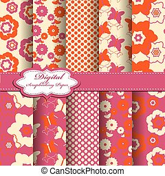 Set of vector abstract flower pattern paper for scrapbook.