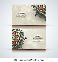 Set of vector abstract visit cards with indian ornament