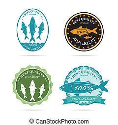 Set of vector an fish label on white background