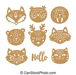 Set of vector animal faces in Scandinavian style