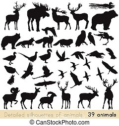 Set of vector animal silhouettes