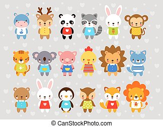 Set of vector animals in cartoon style.