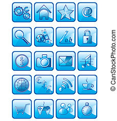 Set of vector application icons isolated on white background