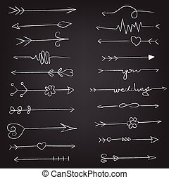set of vector arrows drawn in chalk