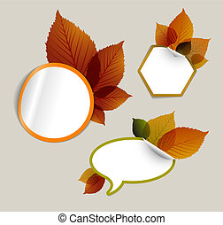 Set of vector autumn discount tickets, labels, stamps...