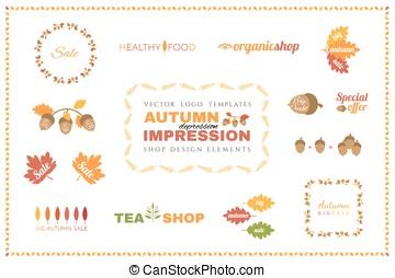 Set of vector autumn logo templates. Design elements.