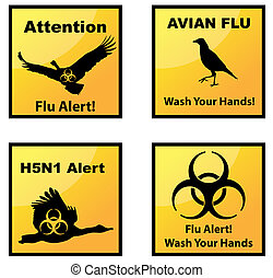 Avian flu alerts icons