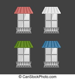 Set of Vector awnings on windows