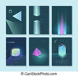 Set of vector backgrounds  neon space 80s style crystals