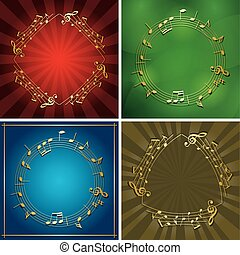 set of vector backgrounds with gold music frames - musical notes on flyers