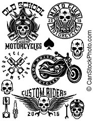 set of vector badges, logos, design elements on theme motorcycles with skulls
