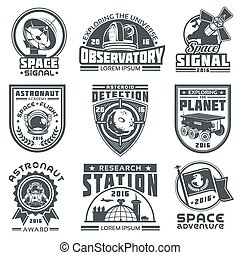 Set of vector badges space. - Set of vector badges of space....