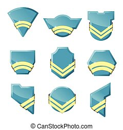 Set of vector badges with gold ribbons