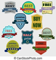 Set of Vector Badges with Ribbons