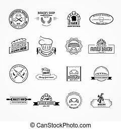 Set of vector bakery logos