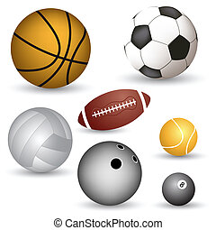 Set of vector balls of different sports