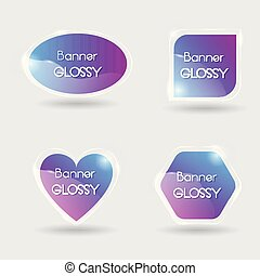 Set of vector banner glossy with color