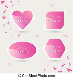 Set of vector banner glossy with color pink
