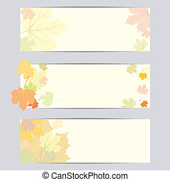 Set of vector banner with autumn leaves