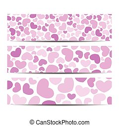 Set of vector banners. Background with hearts . Web banners, card, vip, certificate, gift, voucher. Modern business stylish design