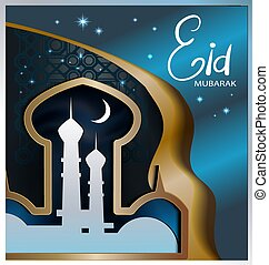Set of vector banners for Ramadan Kareem with home and towers of mosque, moon and arabic pattern