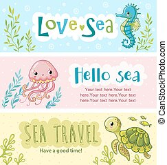 Set of vector banners on the marine theme.