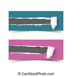 Set of vector banners torn paper with scroll and ripped edges