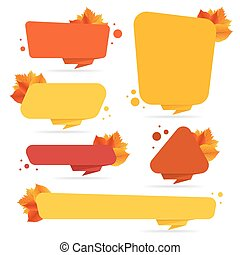 Set of vector banners with autumn leaves