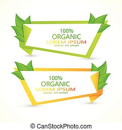 Set of vector banners with fresh green leaves. Eco design