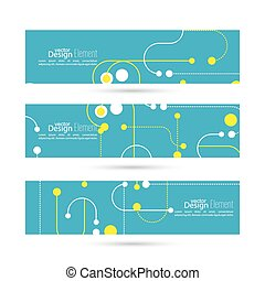 Set of vector banners with particles, atoms and line. For...