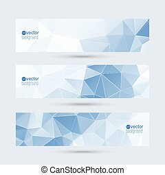 Set of vector banners with triangles and polygon mesh. For ...