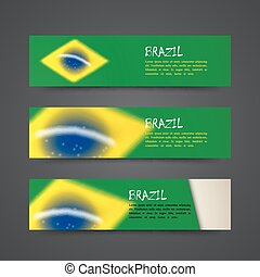 set of vector banners with watercolor effect in brazil flag concept for web design.