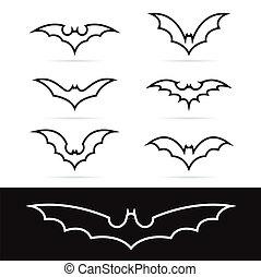 Set of vector bat icons