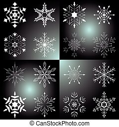 set of vector beautiful snowflakes