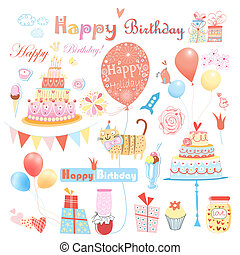 Set of vector birthday party elements - beautiful colorful...