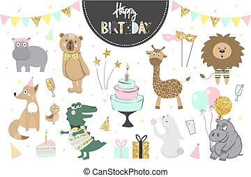 Set of vector birthday party elements with cute animals.
